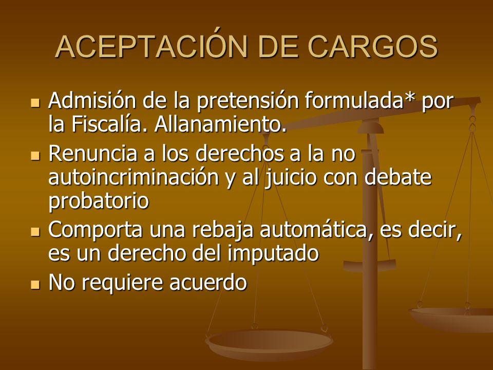 ACEPTACIÓN DE CARGOS Admisión de la pretensión formulada* por la Fiscalía. Allanamiento.