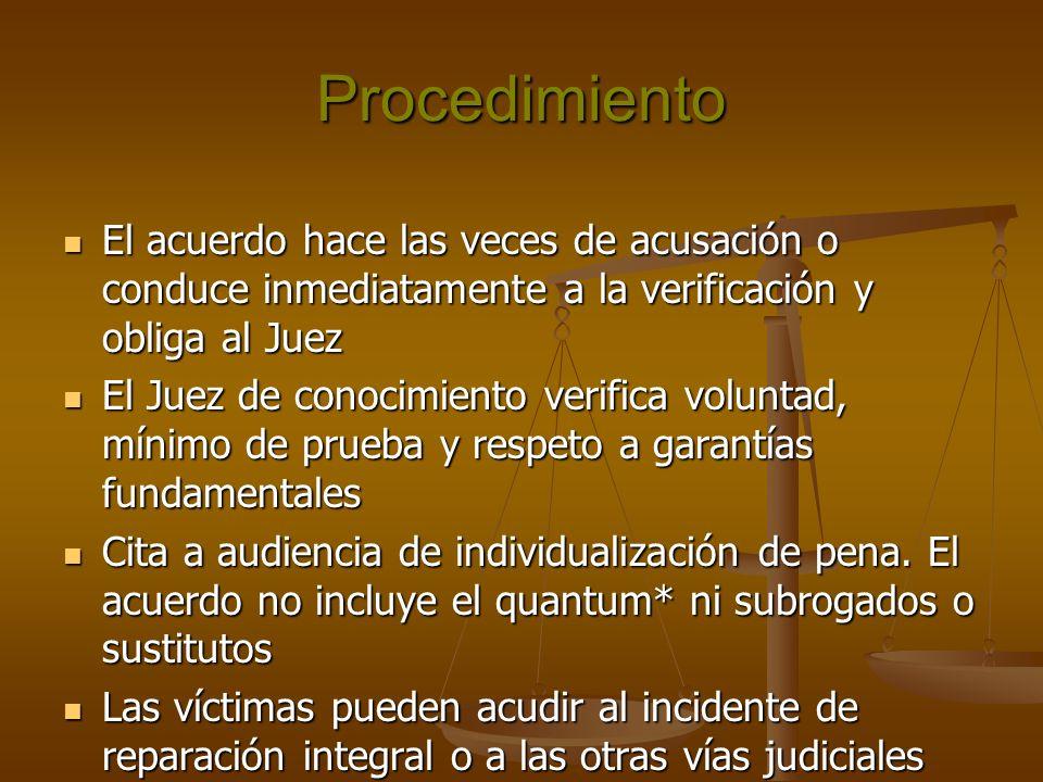 Procedimiento El acuerdo hace las veces de acusación o conduce inmediatamente a la verificación y obliga al Juez.