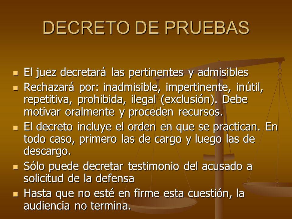 DECRETO DE PRUEBAS El juez decretará las pertinentes y admisibles