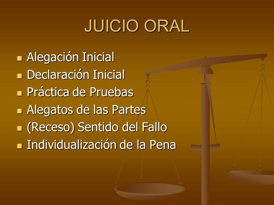 JUICIO ORAL Alegación Inicial Declaración Inicial Práctica de Pruebas