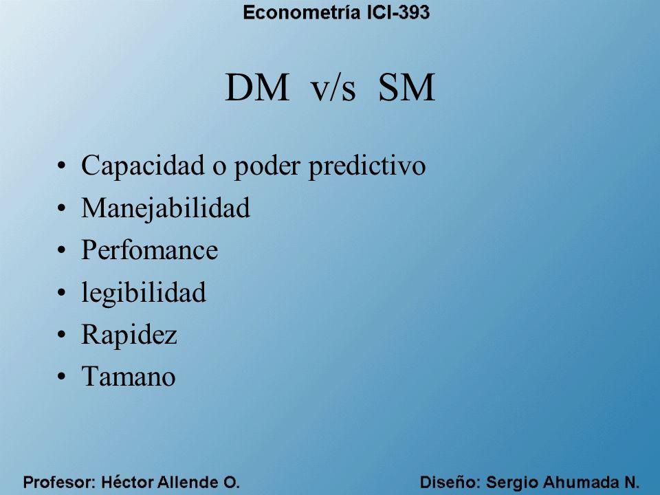 DM v/s SM Capacidad o poder predictivo Manejabilidad Perfomance