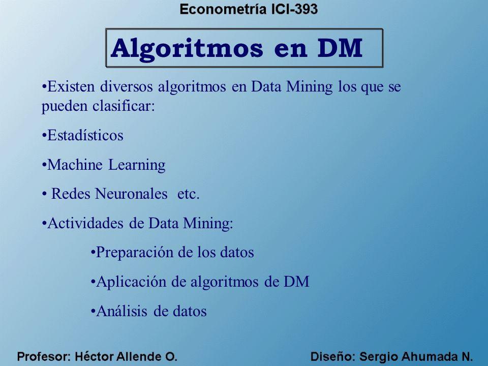 Algoritmos en DM Existen diversos algoritmos en Data Mining los que se pueden clasificar: Estadísticos.