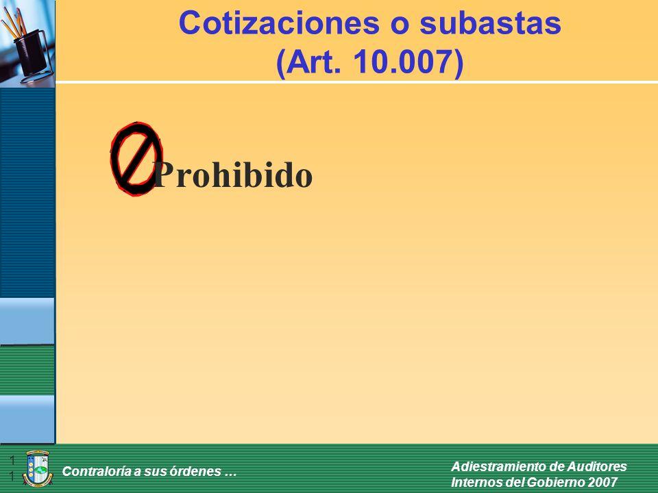 Cotizaciones o subastas (Art. 10.007)