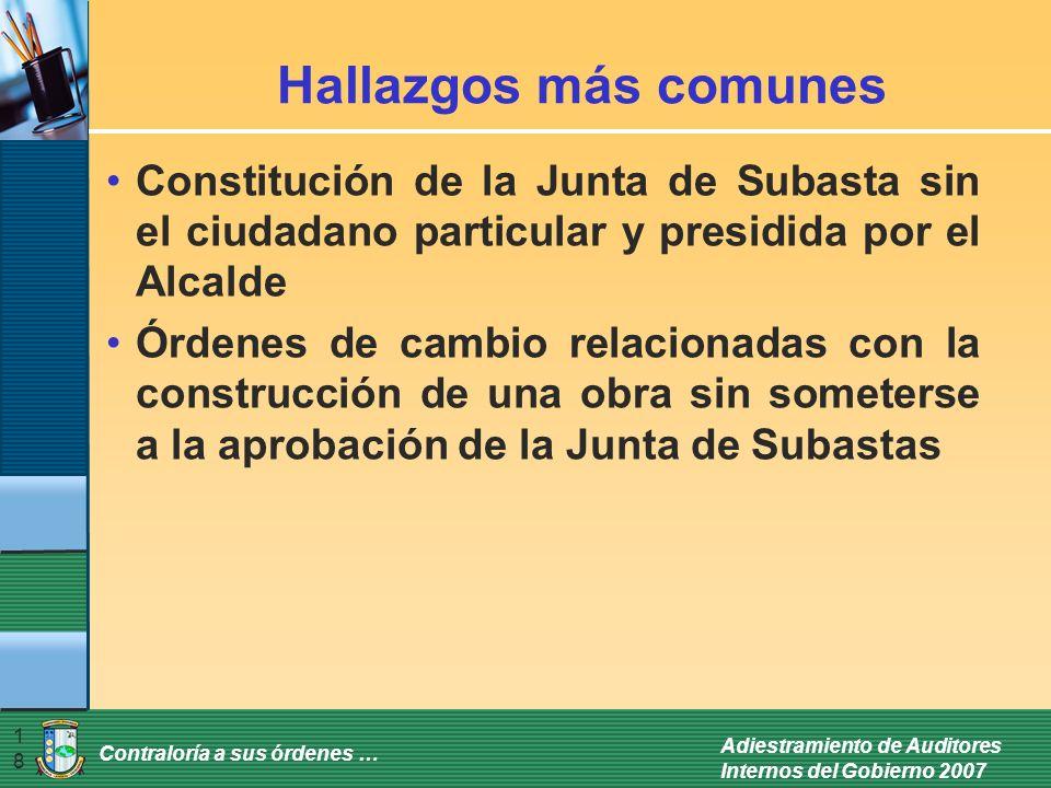 Hallazgos más comunes Constitución de la Junta de Subasta sin el ciudadano particular y presidida por el Alcalde.