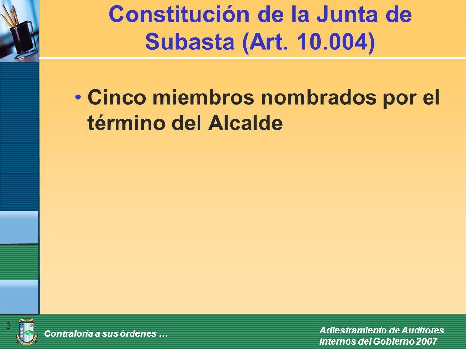 Constitución de la Junta de Subasta (Art. 10.004)