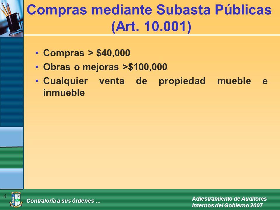 Compras mediante Subasta Públicas (Art. 10.001)