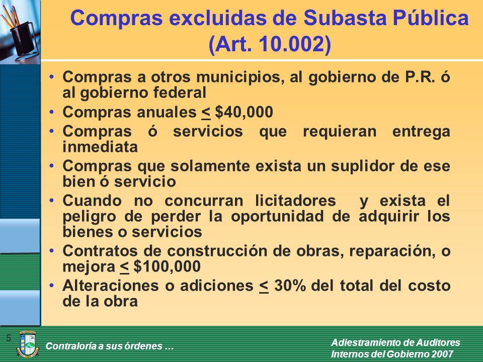 Compras excluidas de Subasta Pública (Art. 10.002)