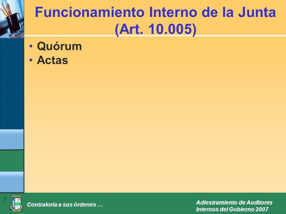 Funcionamiento Interno de la Junta (Art. 10.005)