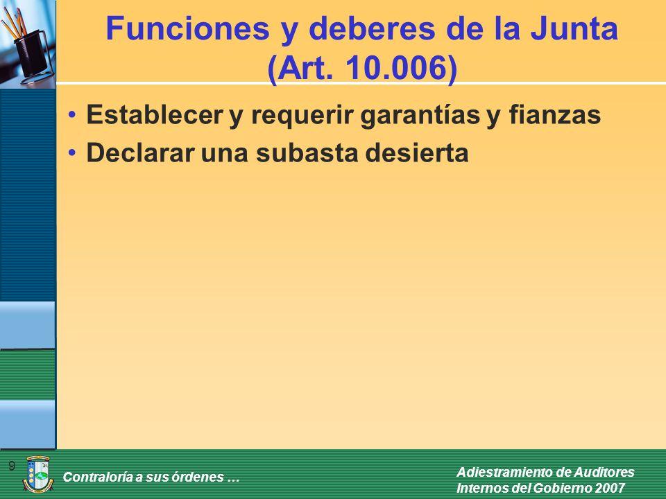 Funciones y deberes de la Junta (Art. 10.006)