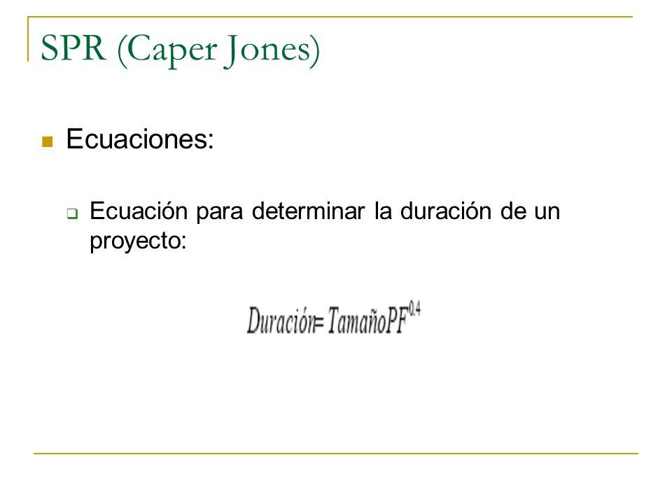 SPR (Caper Jones) Ecuaciones: