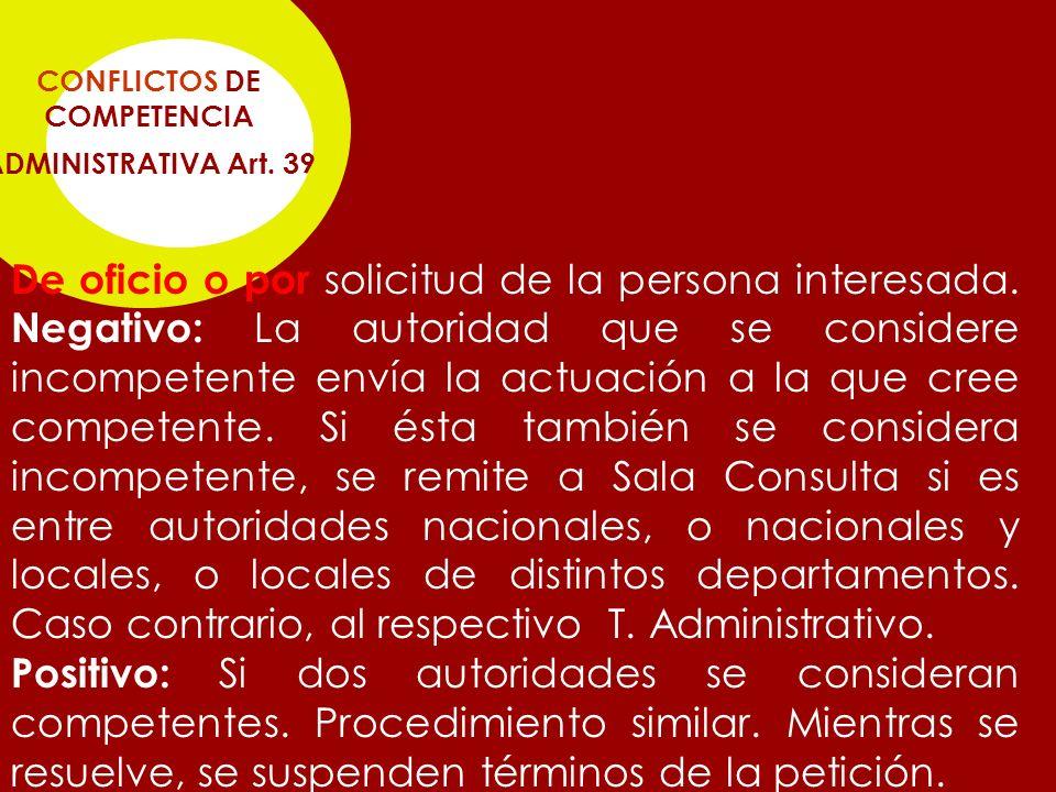 CONFLICTOS DE COMPETENCIA ADMINISTRATIVA Art. 39