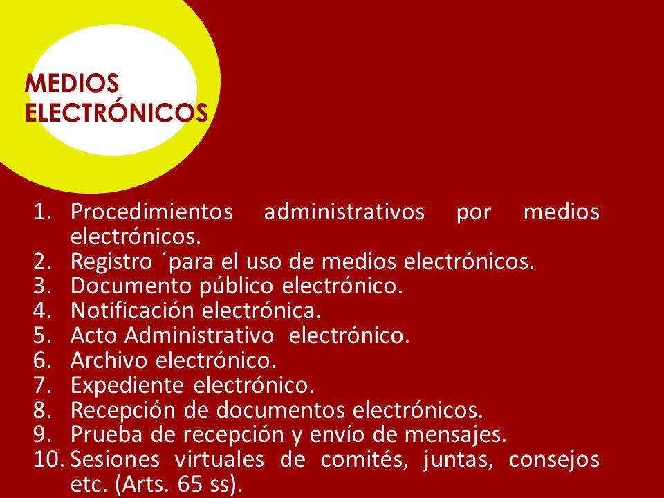 Procedimientos administrativos por medios electrónicos.