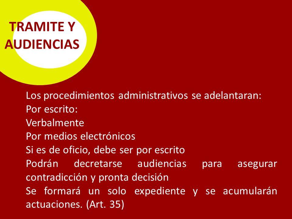 TRAMITE Y AUDIENCIAS Los procedimientos administrativos se adelantaran: Por escrito: Verbalmente.