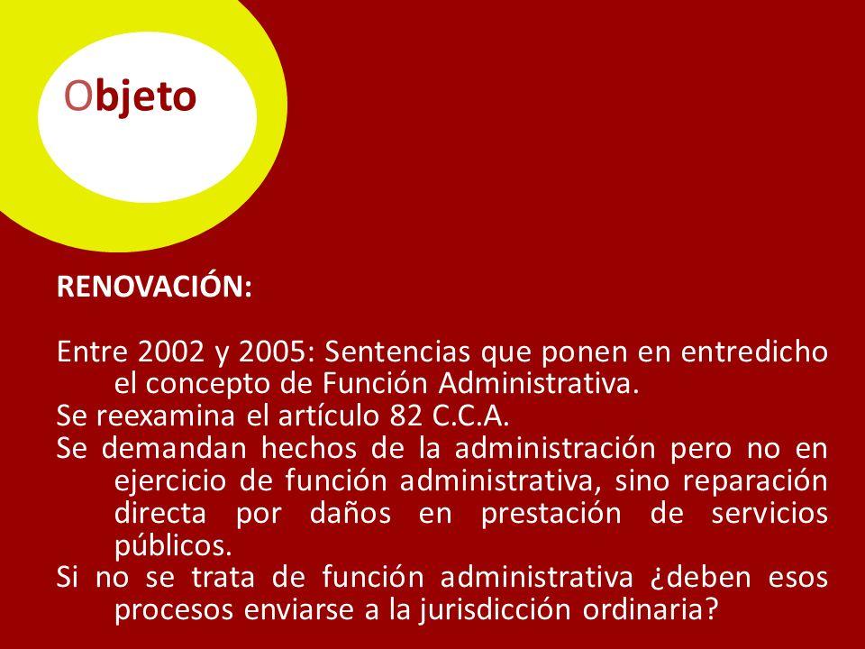 Objeto RENOVACIÓN: Entre 2002 y 2005: Sentencias que ponen en entredicho el concepto de Función Administrativa.