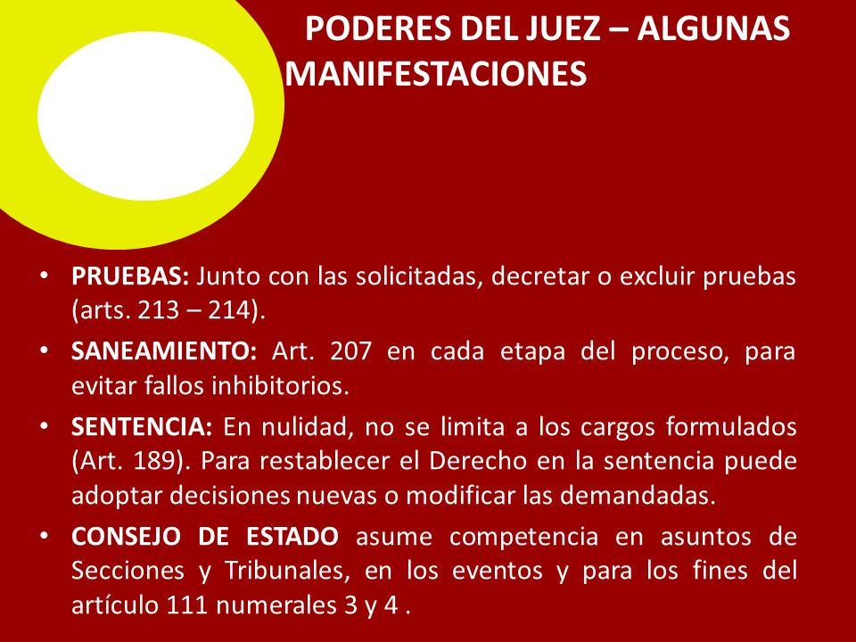 PODERES DEL JUEZ – ALGUNAS MANIFESTACIONES
