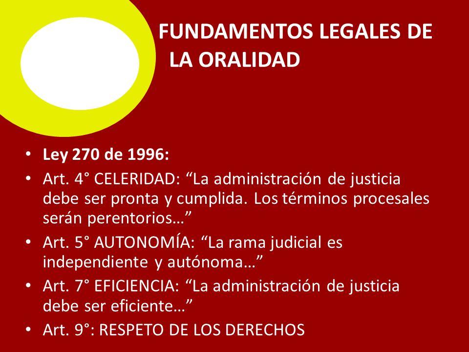 FUNDAMENTOS LEGALES DE LA ORALIDAD