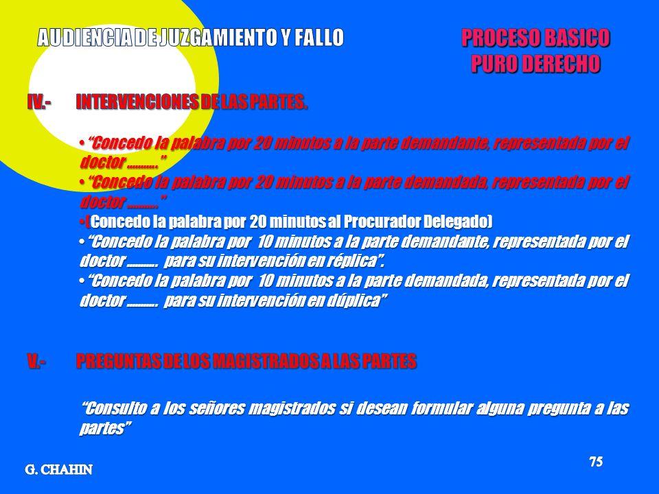 AUDIENCIA DE JUZGAMIENTO Y FALLO PROCESO BASICO PURO DERECHO