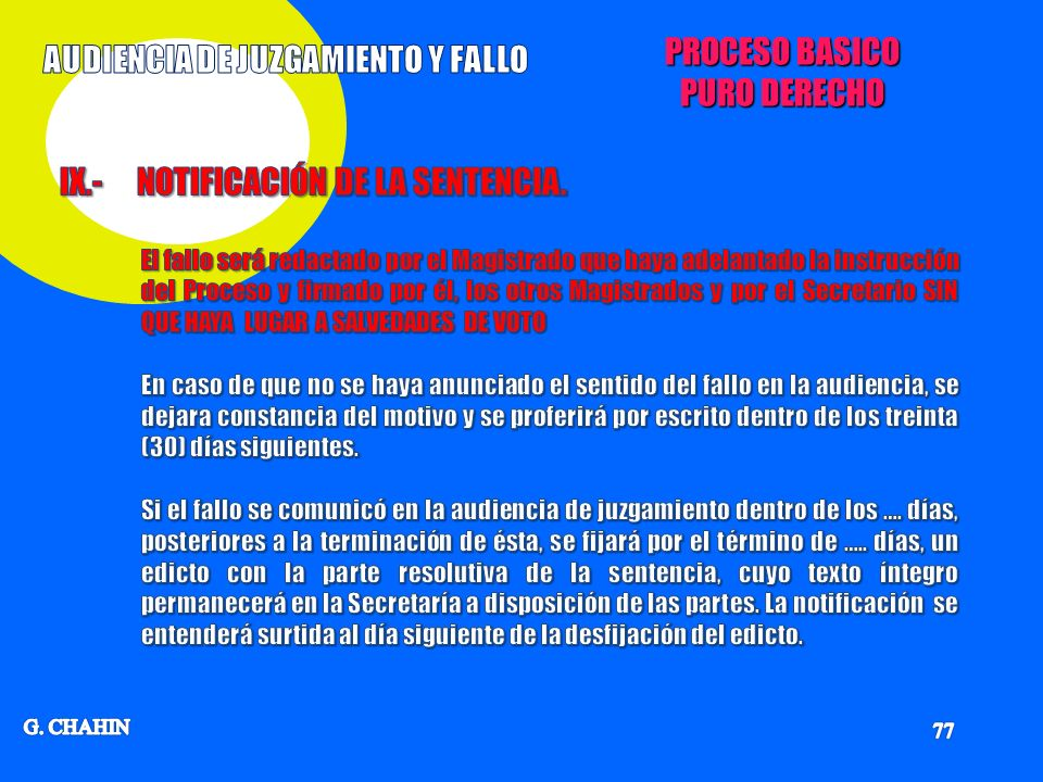 AUDIENCIA DE JUZGAMIENTO Y FALLO
