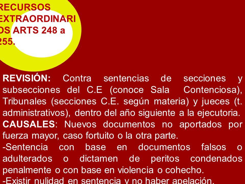 RECURSOS EXTRAORDINARIOS ARTS 248 a 255.