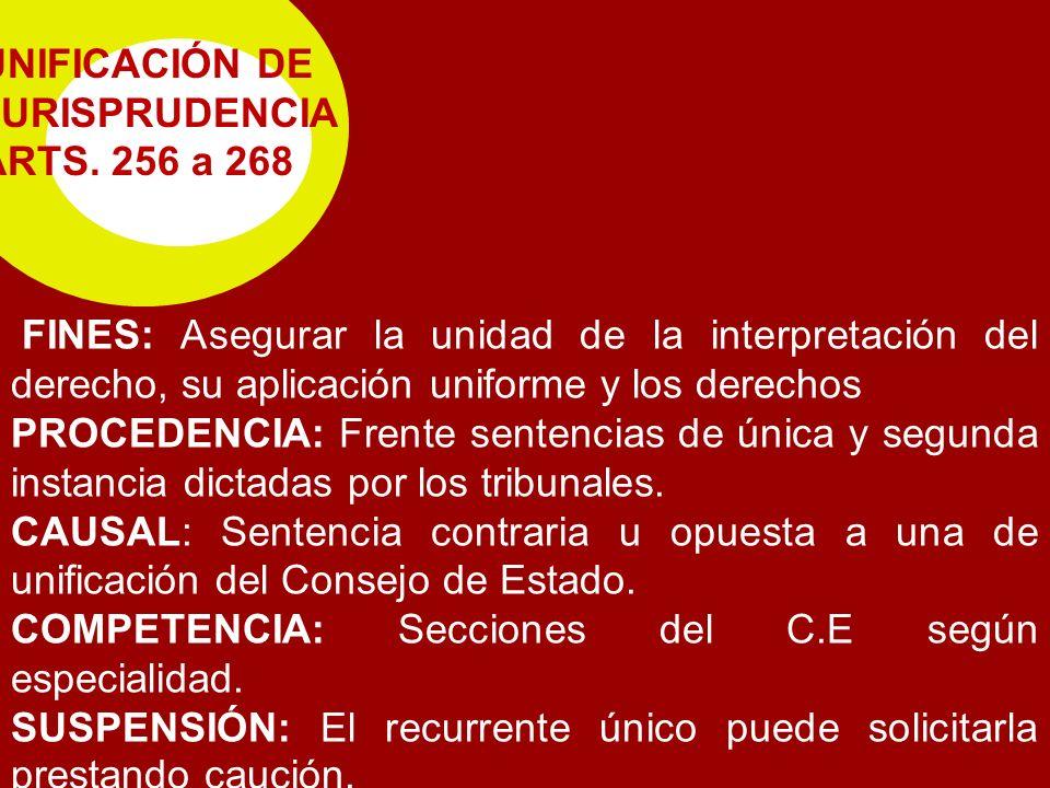 UNIFICACIÓN DE JURISPRUDENCIA ARTS. 256 a 268