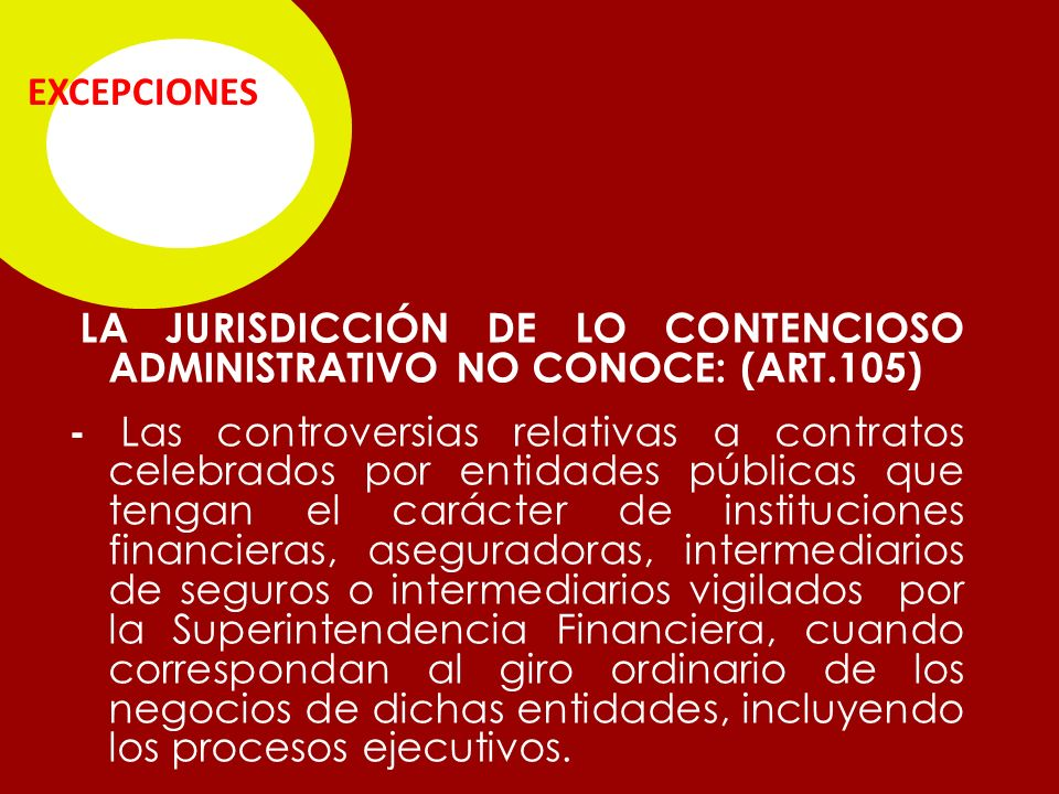 EXCEPCIONES LA JURISDICCIÓN DE LO CONTENCIOSO ADMINISTRATIVO NO CONOCE: (ART.105)