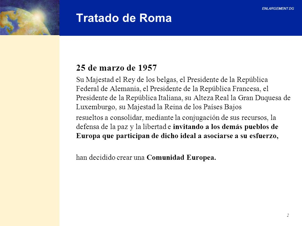 Tratado de Roma 25 de marzo de 1957