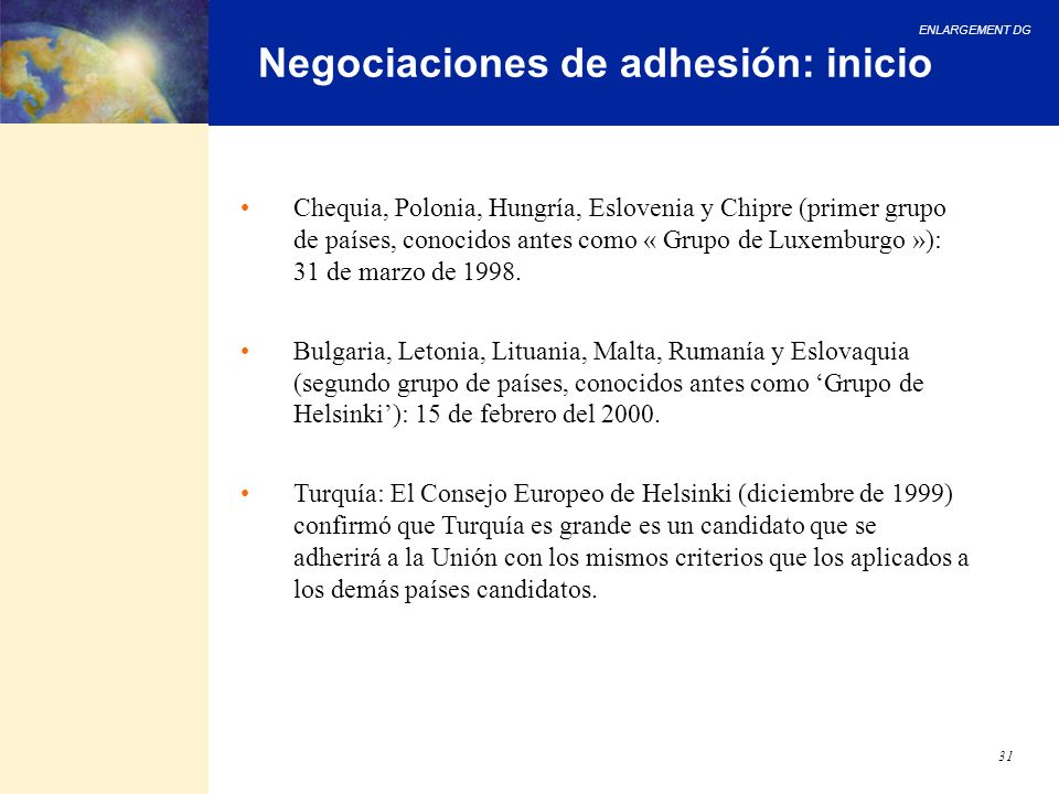 Negociaciones de adhesión: inicio