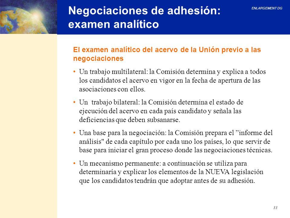 Negociaciones de adhesión: examen analítico