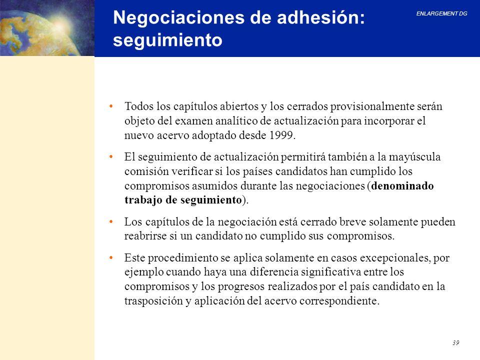 Negociaciones de adhesión: seguimiento