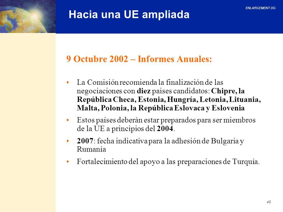 Hacia una UE ampliada 9 Octubre 2002 – Informes Anuales:
