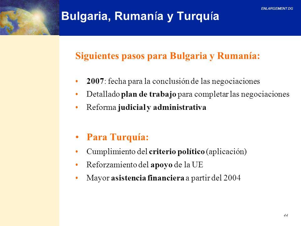 Bulgaria, Rumanía y Turquía