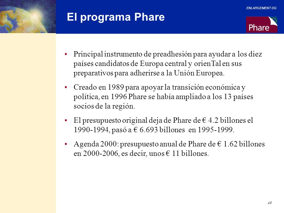 El programa Phare