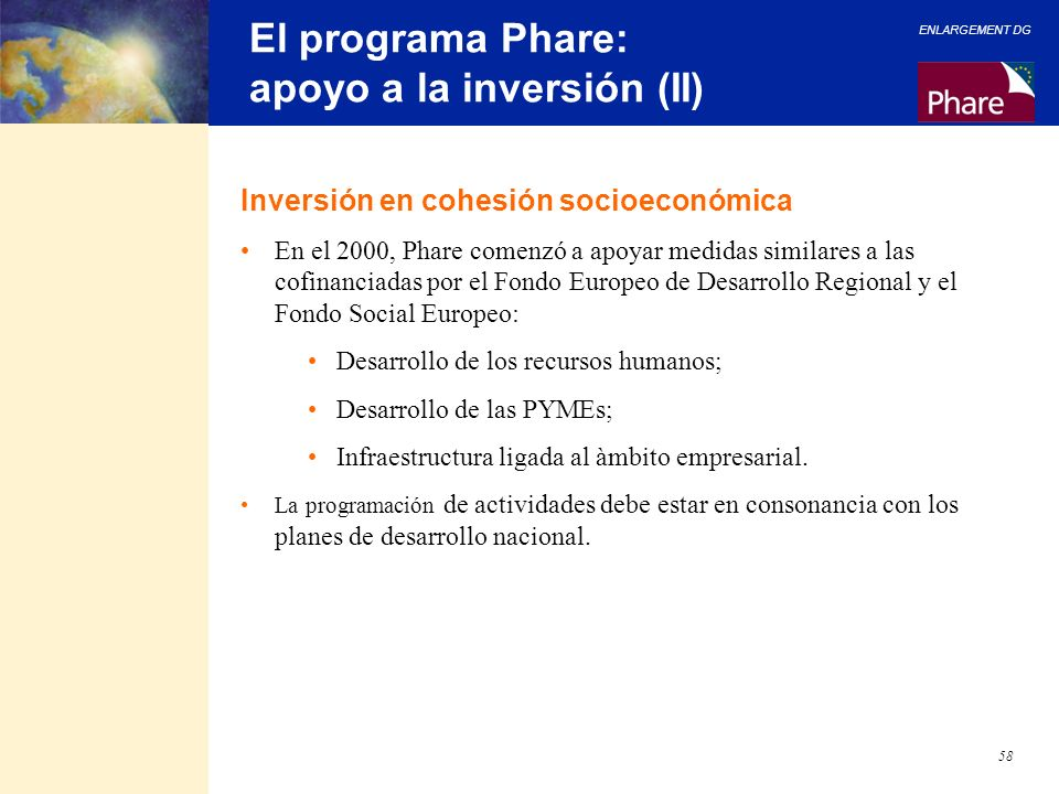 El programa Phare: apoyo a la inversión (II)