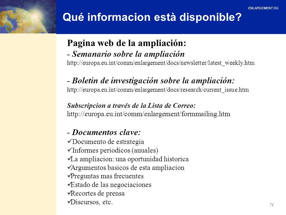 Qué informacion està disponible