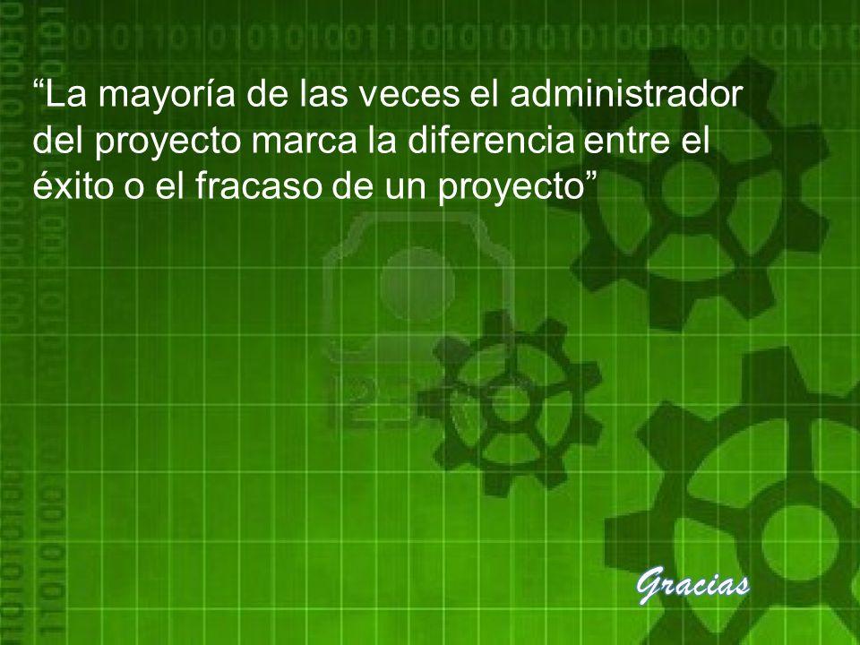 La mayoría de las veces el administrador del proyecto marca la diferencia entre el éxito o el fracaso de un proyecto