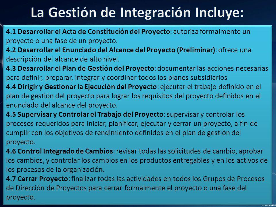 La Gestión de Integración Incluye: