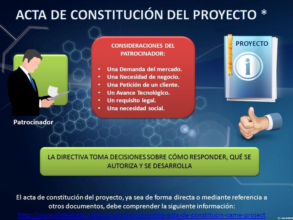 CONSIDERACIONES DEL PATROCINADOR:
