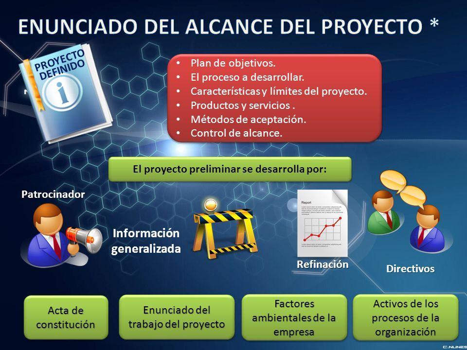 El proyecto preliminar se desarrolla por: Información generalizada