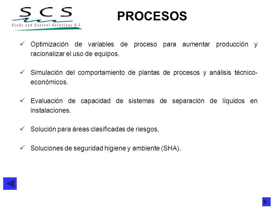 PROCESOSOptimización de variables de proceso para aumentar producción y racionalizar el uso de equipos.