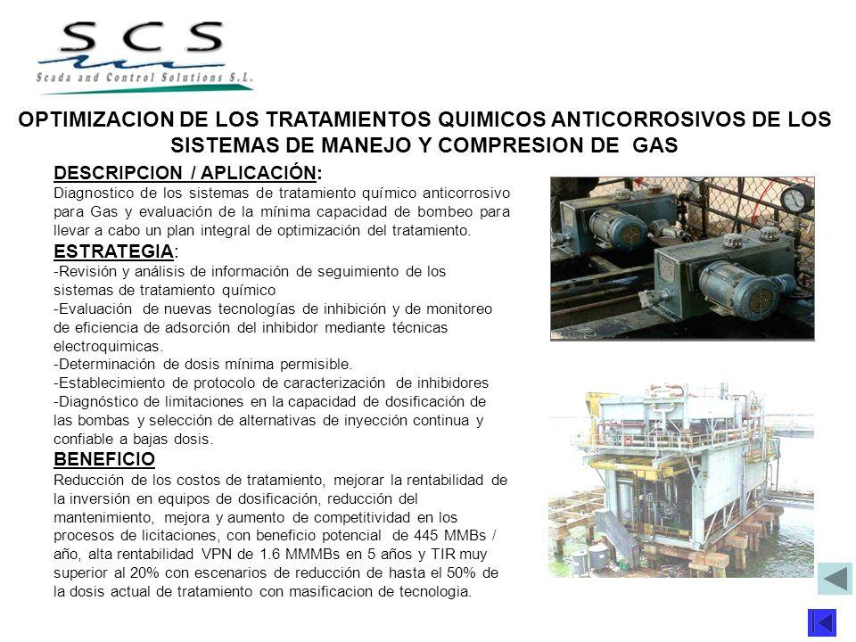 OPTIMIZACION DE LOS TRATAMIENTOS QUIMICOS ANTICORROSIVOS DE LOS SISTEMAS DE MANEJO Y COMPRESION DE GAS