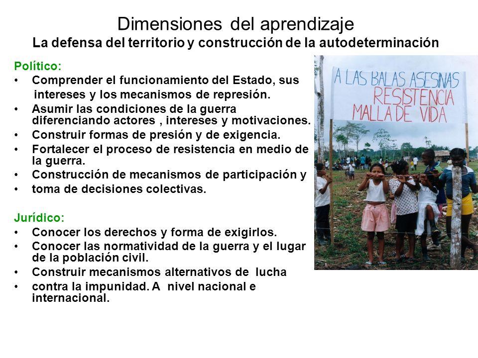 Dimensiones del aprendizaje La defensa del territorio y construcción de la autodeterminación