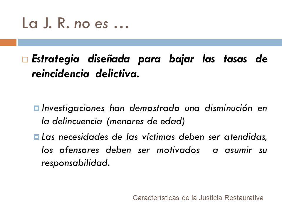 La J. R. no es … Estrategia diseñada para bajar las tasas de reincidencia delictiva.