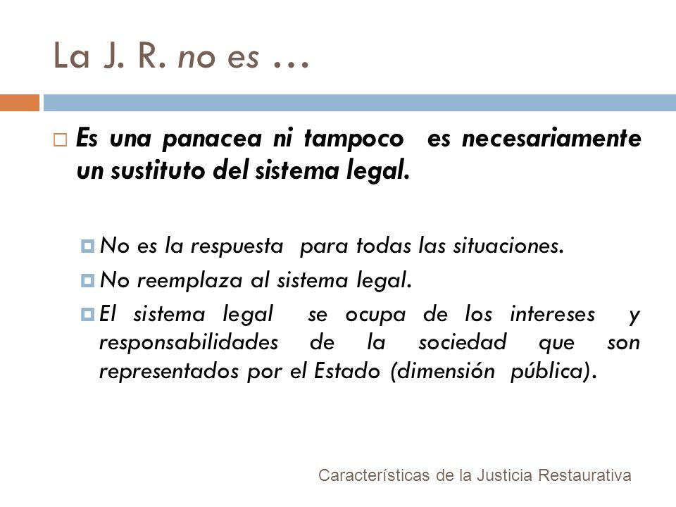 La J. R. no es …Es una panacea ni tampoco es necesariamente un sustituto del sistema legal. No es la respuesta para todas las situaciones.