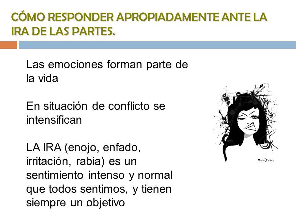 CÓMO RESPONDER APROPIADAMENTE ANTE LA IRA DE LAS PARTES.