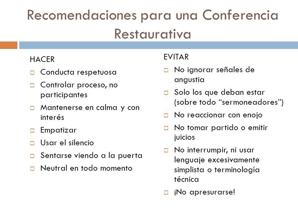 Recomendaciones para una Conferencia Restaurativa