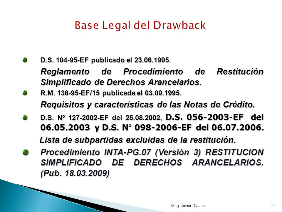 Base Legal del Drawback