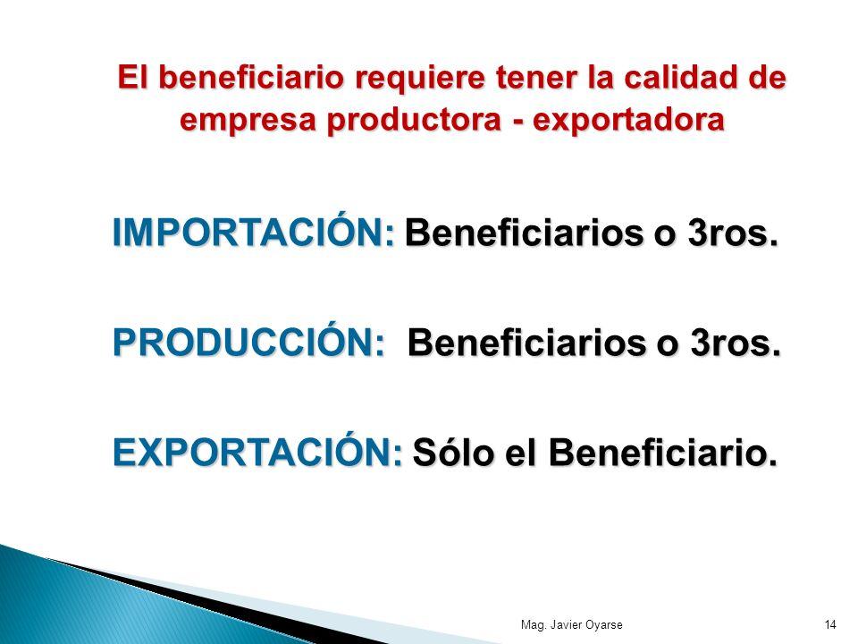 IMPORTACIÓN: Beneficiarios o 3ros. PRODUCCIÓN: Beneficiarios o 3ros.