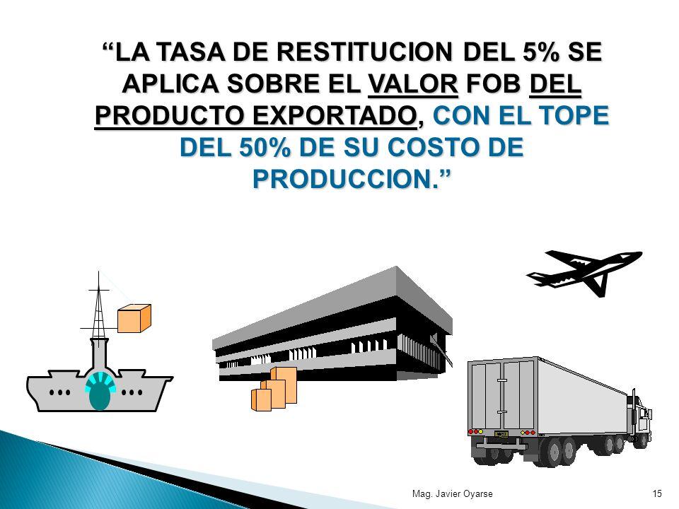 LA TASA DE RESTITUCION DEL 5% SE APLICA SOBRE EL VALOR FOB DEL PRODUCTO EXPORTADO, CON EL TOPE DEL 50% DE SU COSTO DE PRODUCCION.