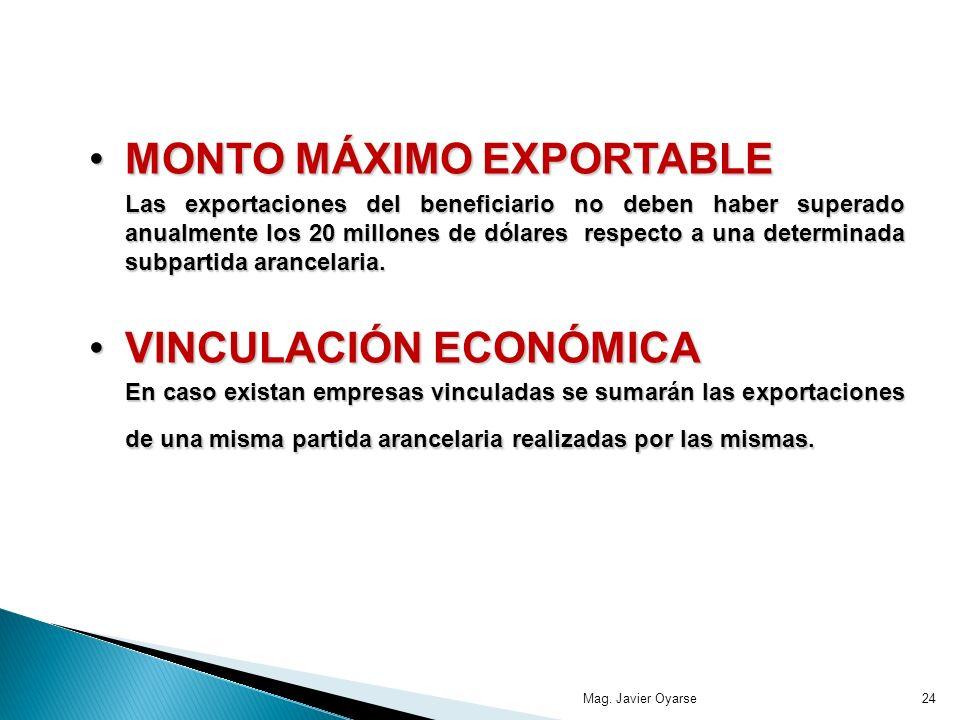 MONTO MÁXIMO EXPORTABLE