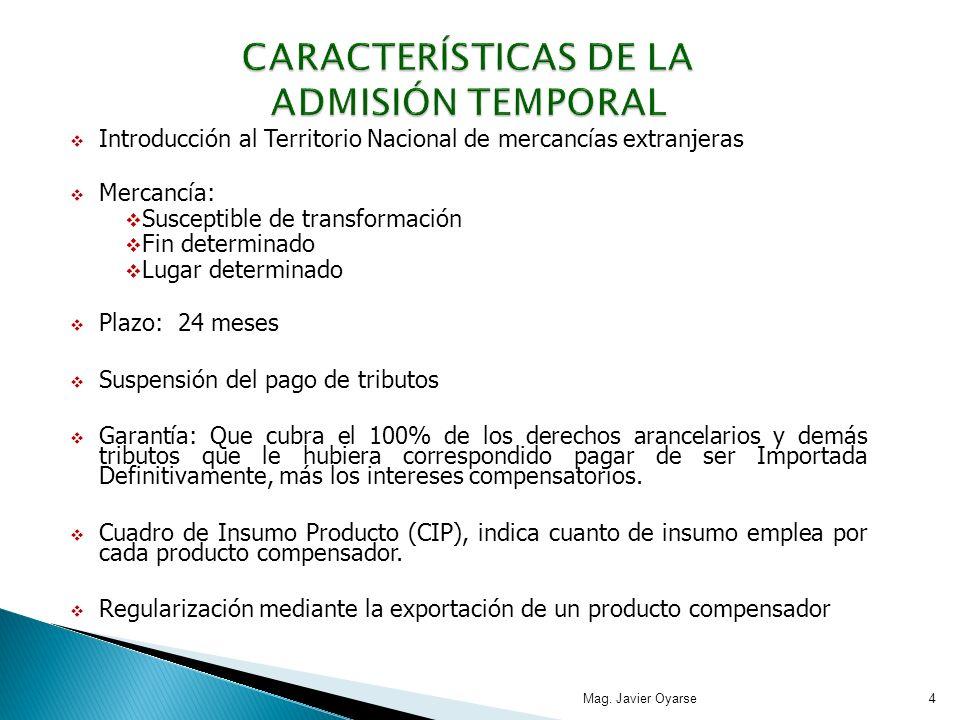 CARACTERÍSTICAS DE LA ADMISIÓN TEMPORAL